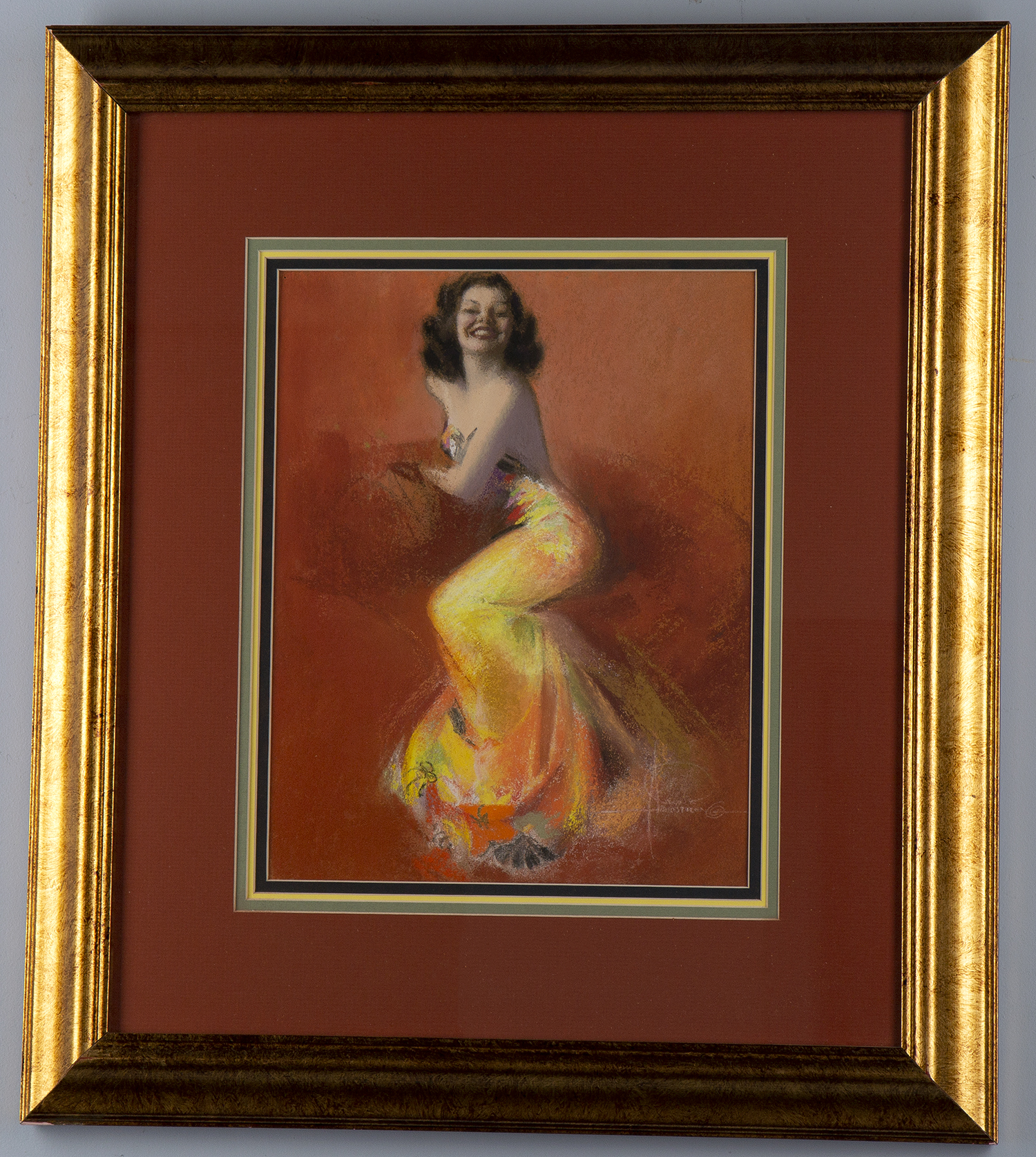 The pastel housed behind glass in a gold painted wood frame with matting