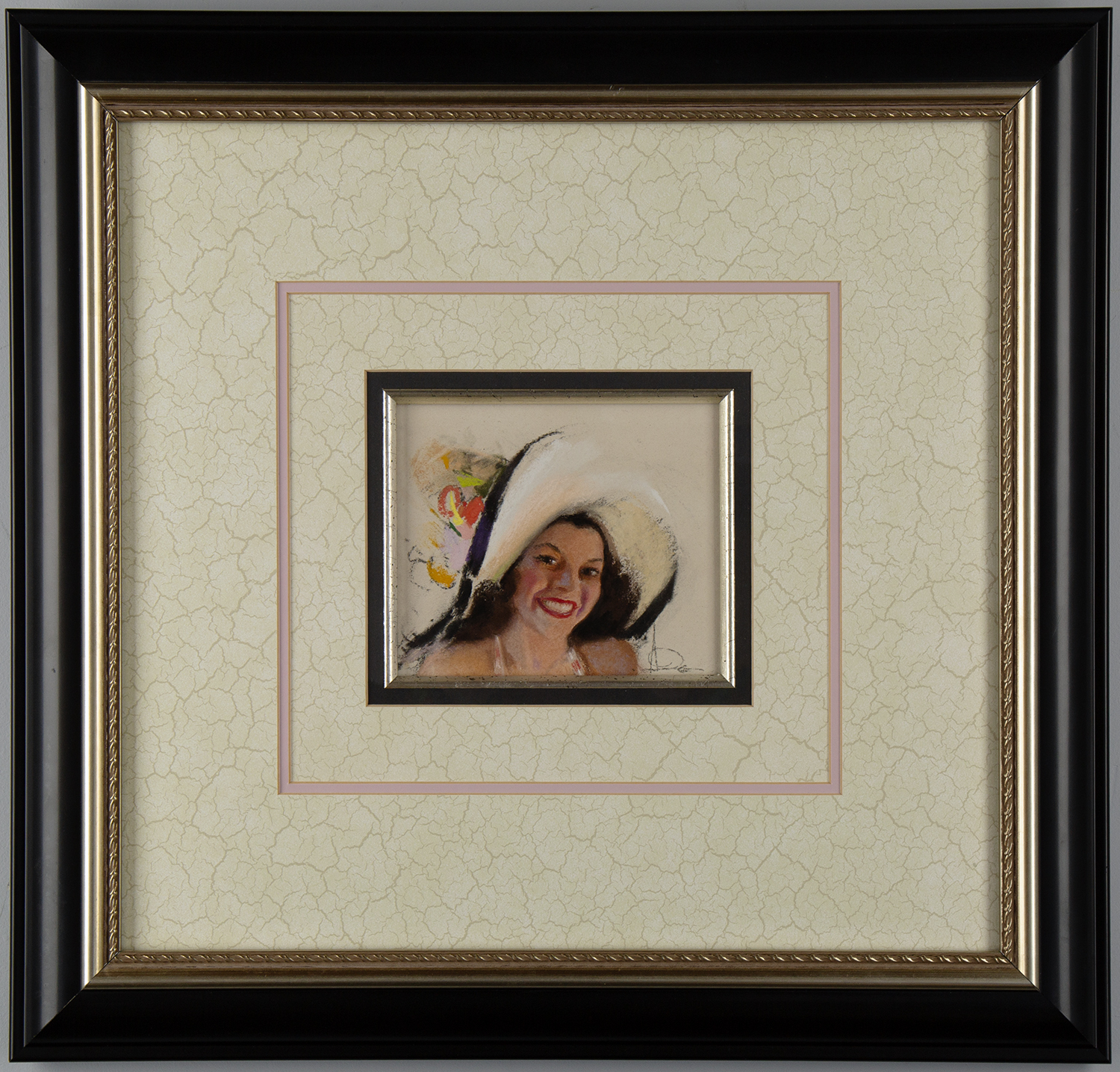 The pastel matted and framed under glass