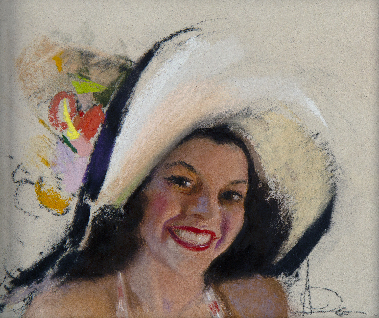 Full view of thumbnail sketch featuring pin-up model Jewel Flowers wearing a white wide brimmed hat adorned with flowers.
