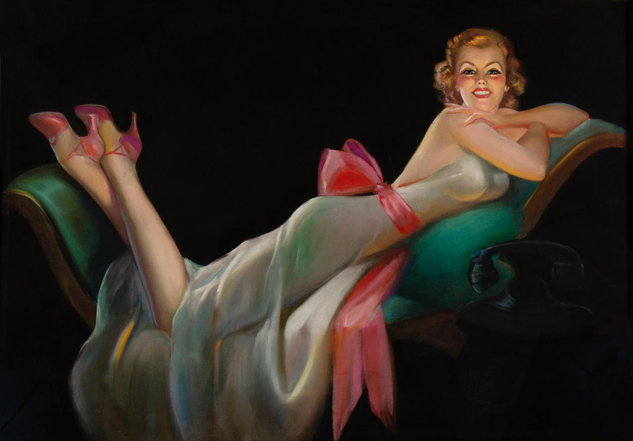 A copper-topped pin-up glamour girl lounging on a chaise lounge in front of a telephone. Set against a black background.