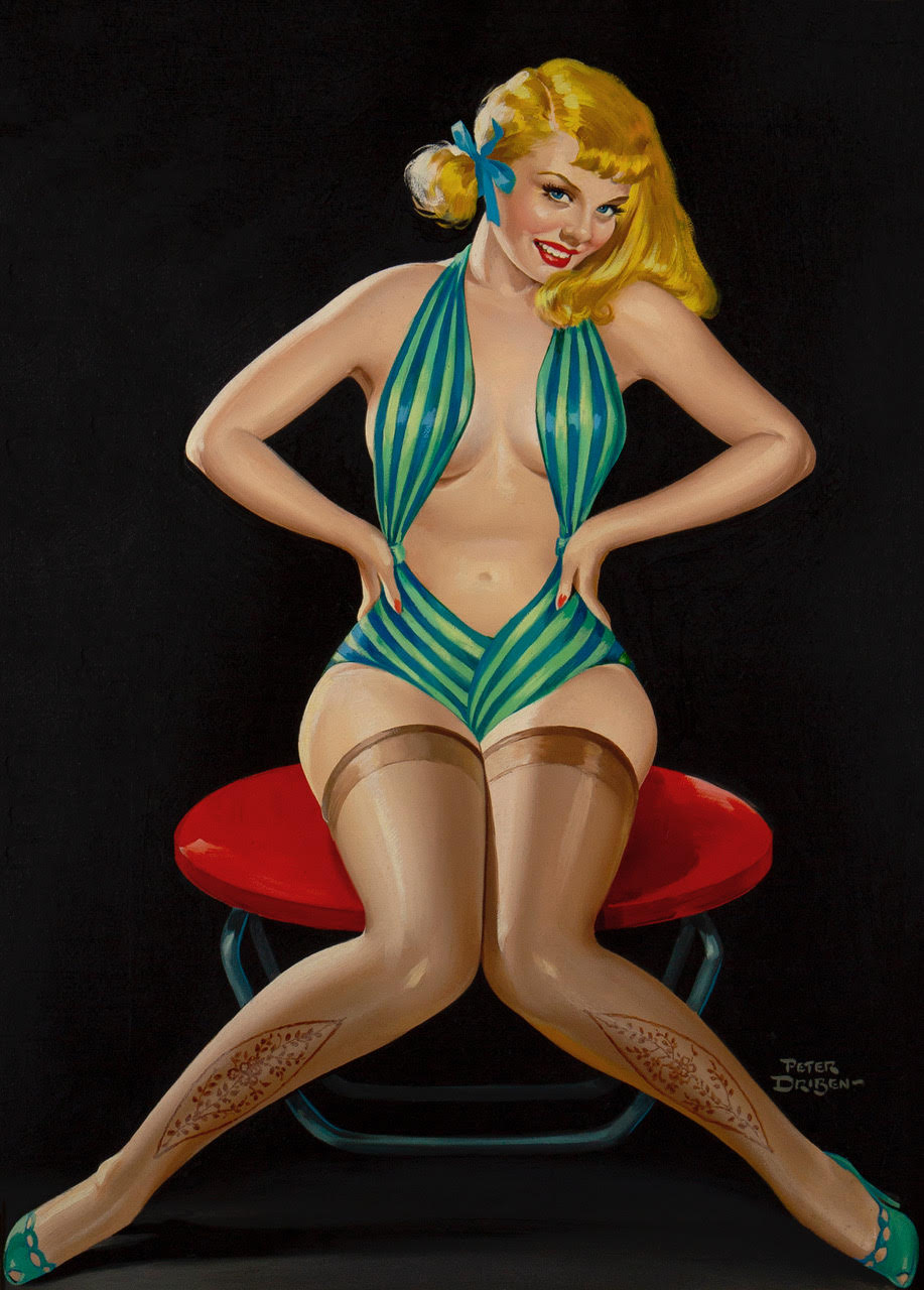 A shapely blonde pin-up girl wearing a green striped one-piece dance costume with an exposed torso, and embroidered stockings. Posed on a red pouf. Set against a black background.