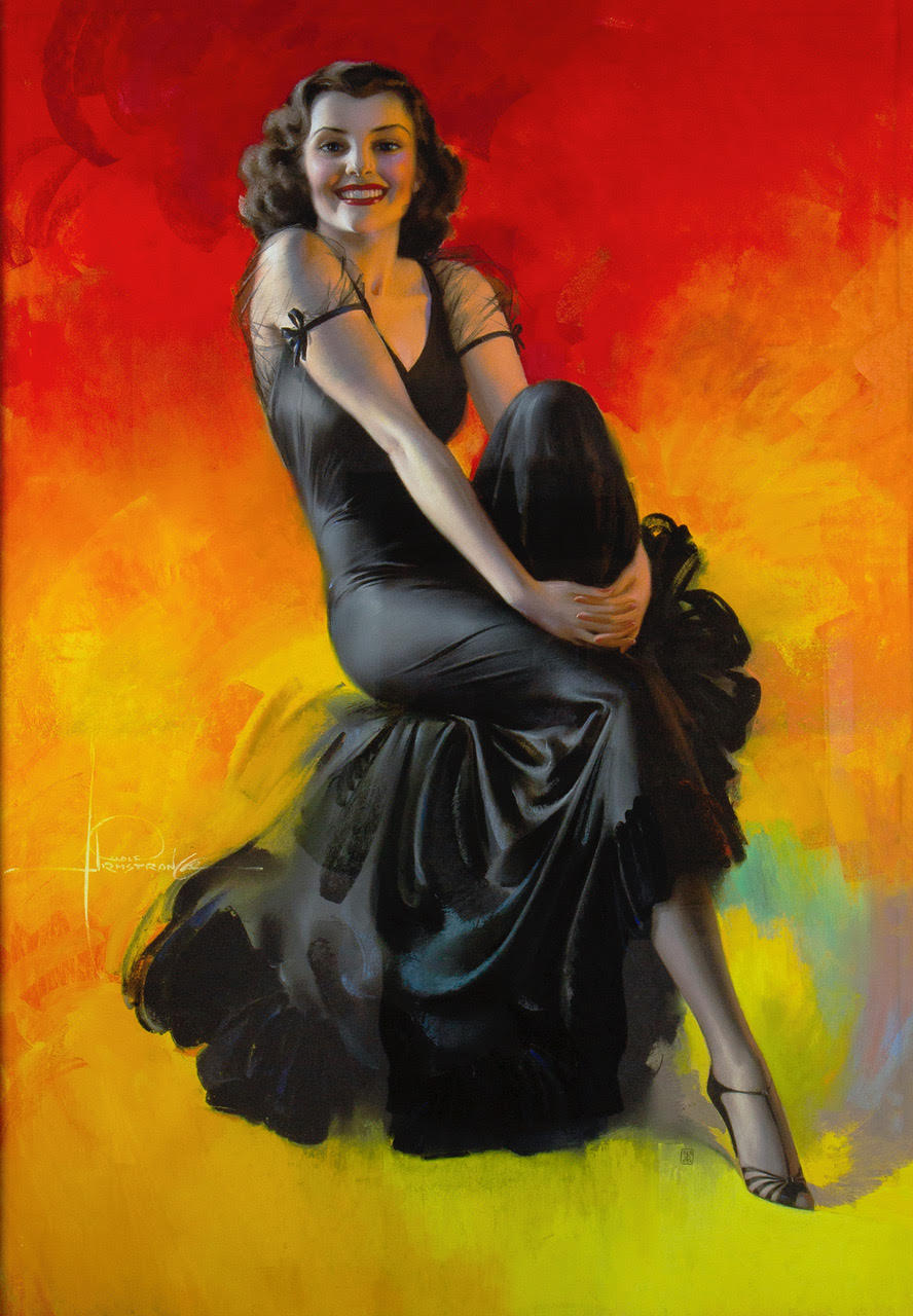 A vibrantly colored pastel featuring a Rolf Armstrong pin-up girl in a black gown
